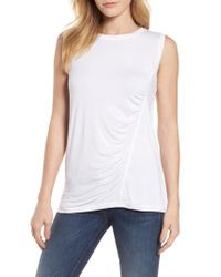 Caslon - White Caslon Off-duty Shirred Sleeveless Tee - Lyst