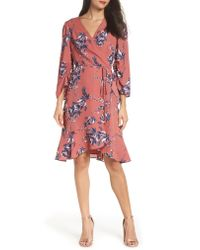 Charles Henry - Red Ruched Sleeve Wrap Dress - Lyst