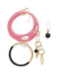 Diane von Furstenberg | Pink Asymmetrical Charm Earrings | Lyst