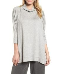 Eileen Fisher - Multicolor Funnel Neck Top - Lyst