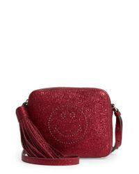 Anya Hindmarch - Red Smiley Metallic Leather Crossbody Bag - Lyst
