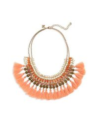 Panacea - Multicolor Stacked Stone Tassel Trim Bib Necklace - Lyst