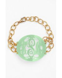 Moon & Lola - Metallic 'annabel' Large Oval Personalized Monogram Bracelet (nordstrom Exclusive) - Lyst