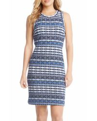 Karen Kane | Blue Jacquard Sheath Dress | Lyst