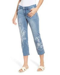 Liverpool Jeans Company - Blue Lvpl By Carter Floral Embroidery Crop Jeans - Lyst