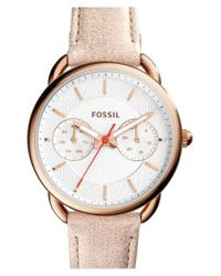 Fossil - White 'tailor' Multifunction Leather Strap Watch - Lyst
