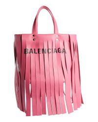 Balenciaga - Pink Extra Small Laundry Logo Fringe Calfskin Tote - Lyst