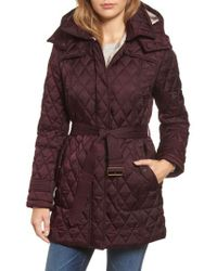 London Fog - Purple Quilted Coat With Faux Shearling Lining - Lyst