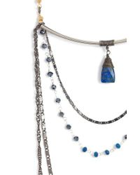 Nakamol - Blue Layered Chain & Crystal Necklace With Lapis Pendant - Lyst
