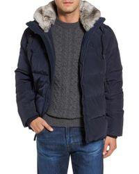 Marc New York | Blue Navan Quilted Down Jacket With Genuine Rabbit Fur Trim for Men | Lyst