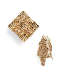 Karine Sultan - Metallic Basket Weave Square Clip Earrings - Lyst