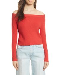FRAME - Red Off The Shoulder Crop Sweater - Lyst
