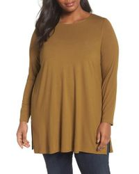 Eileen Fisher - Green Round Neck Jersey Tunic - Lyst