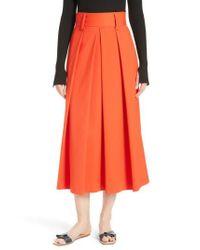 Tibi - Multicolor Agathe High Waist Pleated Midi Skirt - Lyst