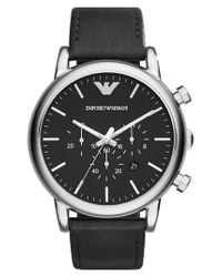 Emporio Armani - Metallic Chronograph Leather Strap Watch for Men - Lyst