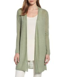 Eileen Fisher | Green Hemp Blend Long Cardigan | Lyst