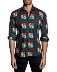 Jared Lang - Blue Trim Fit Rainbow Knot Sport Shirt for Men - Lyst