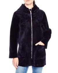 Sandro | Blue Zip Front Genuine Shearling Jacket | Lyst