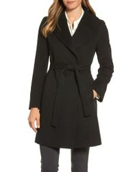 Fleurette - Black Shawl Collar Cashmere Wrap Coat - Lyst