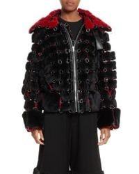 Noir Kei Ninomiya - Black Faux Fur Jacket With Chain Mail Detail - Lyst