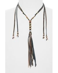 Nakamol | Gray Leather & Metal Tassel Lariat Necklace | Lyst