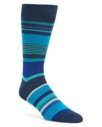 Bugatchi   Blue Stripe Socks for Men   Lyst