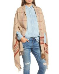 Madewell - Blue Placed Plaid Cape Scarf - Lyst