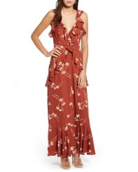 Astr - Red Sleeveless Ruffle Maxi Dress - Lyst