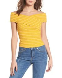 Lush - Yellow Crisscross Off The Shoulder Top - Lyst