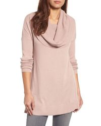 Caslon - Gray Caslon Side Slit Cowl Neck Tunic - Lyst