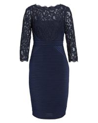 Adrianna Papell - Blue Lace & Jersey Sheath Dress - Lyst