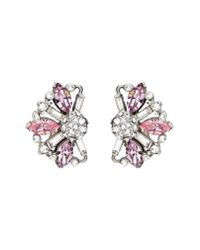Ben-Amun - Metallic Silver & Pink Crystal Earrings - Lyst
