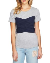 1.STATE - Blue Corset Detail Tee - Lyst