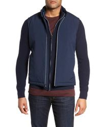 Bugatchi | Blue Woven Front Wool Front Zip Sweater Jacket for Men | Lyst