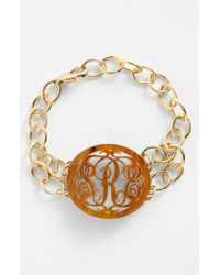 Moon & Lola - Brown 'annabel' Medium Oval Personalized Monogram Bracelet (nordstrom Exclusive) - Lyst