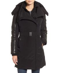 Lamarque Black Asymmetric Hooded Down Coat