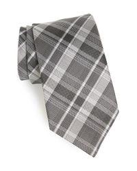 John Varvatos - Gray Plaid Silk Tie for Men - Lyst