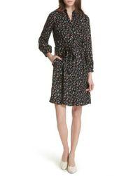 Rebecca Taylor - Black Floral Vine Silk Shirtdress - Lyst