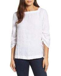 Caslon - White Caslon Ruched Sleeve Linen Pullover - Lyst