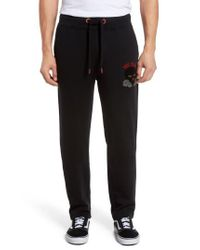 True Religion - Black Rising Sun Embroidered Sweatpants for Men - Lyst
