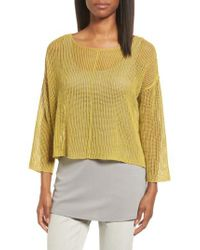 Eileen Fisher | Yellow Organic Linen Crop Sweater | Lyst