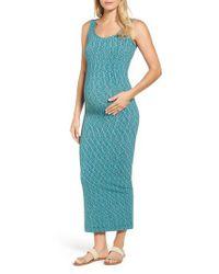 Tees by Tina - Green Marled Maxi Maternity Dress - Lyst