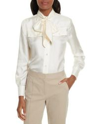 Tory Burch - White Holly Tie Neck Silk Blouse - Lyst
