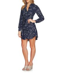 1.STATE - Blue Tie Front Shirtdress - Lyst