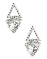 Rebecca Minkoff - Metallic Thread Wrap Geo Stud Earrings - Lyst