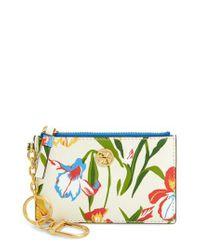 Tory Burch - Blue Robinson Iris Print Leather Card Case - - Lyst