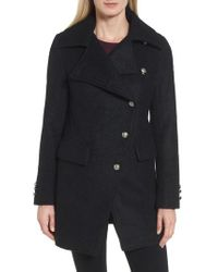 Laundry by Shelli Segal - Black Boucle Military Coat - Lyst