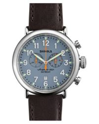Shinola - Blue The Runwell Chrono Leather Strap Watch for Men - Lyst