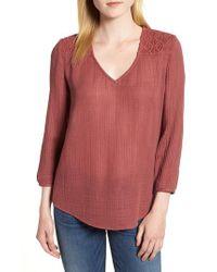 Caslon - Red Caslon Crochet Yoke Top - Lyst