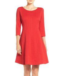 Taylor Dresses - Red Jacquard Knit Fit & Flare Dress - Lyst